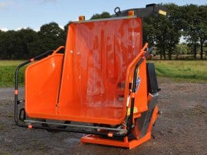 Large hinged feed hopper